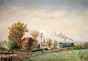 Aquarell Kremer Zug auf dem Bahndamm im Hintergrund Uedemerbruch